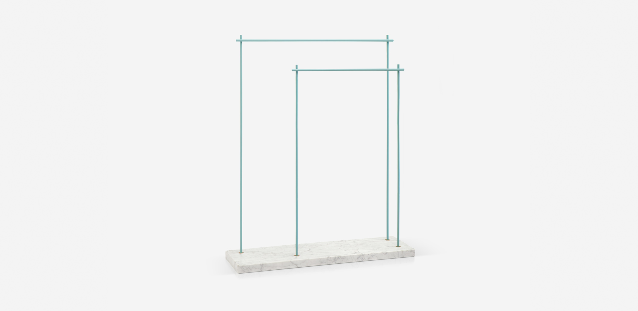 Marblelous rack - MRBL118I [P,U,Y,W] - Carrara or Marquina marble. painted iron blue, yellow, pink, white.