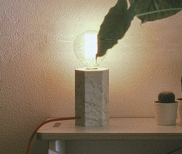 hex lamp with tonburet jr and plants