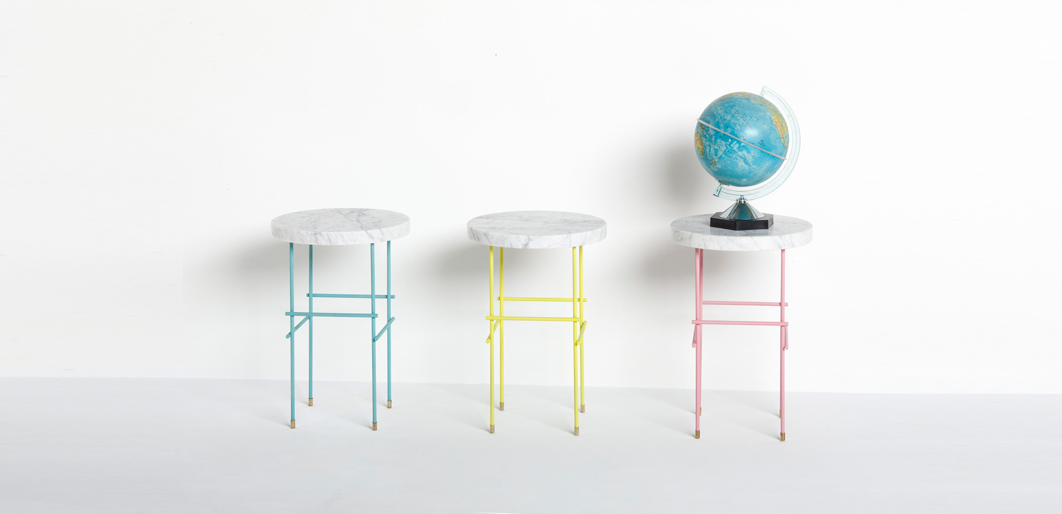 Marblelous Pedestal in Colors - Pink Yellow Blue